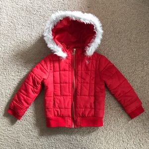 GUESS Girls Puffer Jacket Removable Fur Hood Red